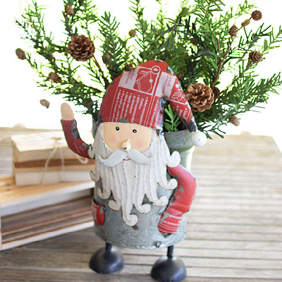 Recycled Iron Santa With Military Canister - Kalalou