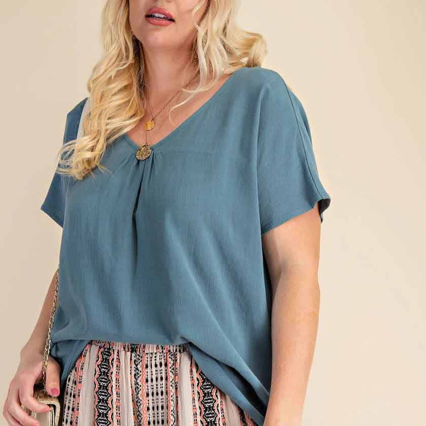 Teal V Neck Top