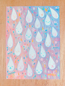 All kinds of happy drops /  original painting /