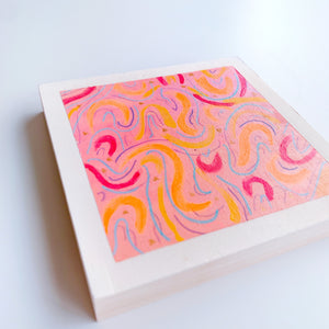 mini pink swirls /  original painting /