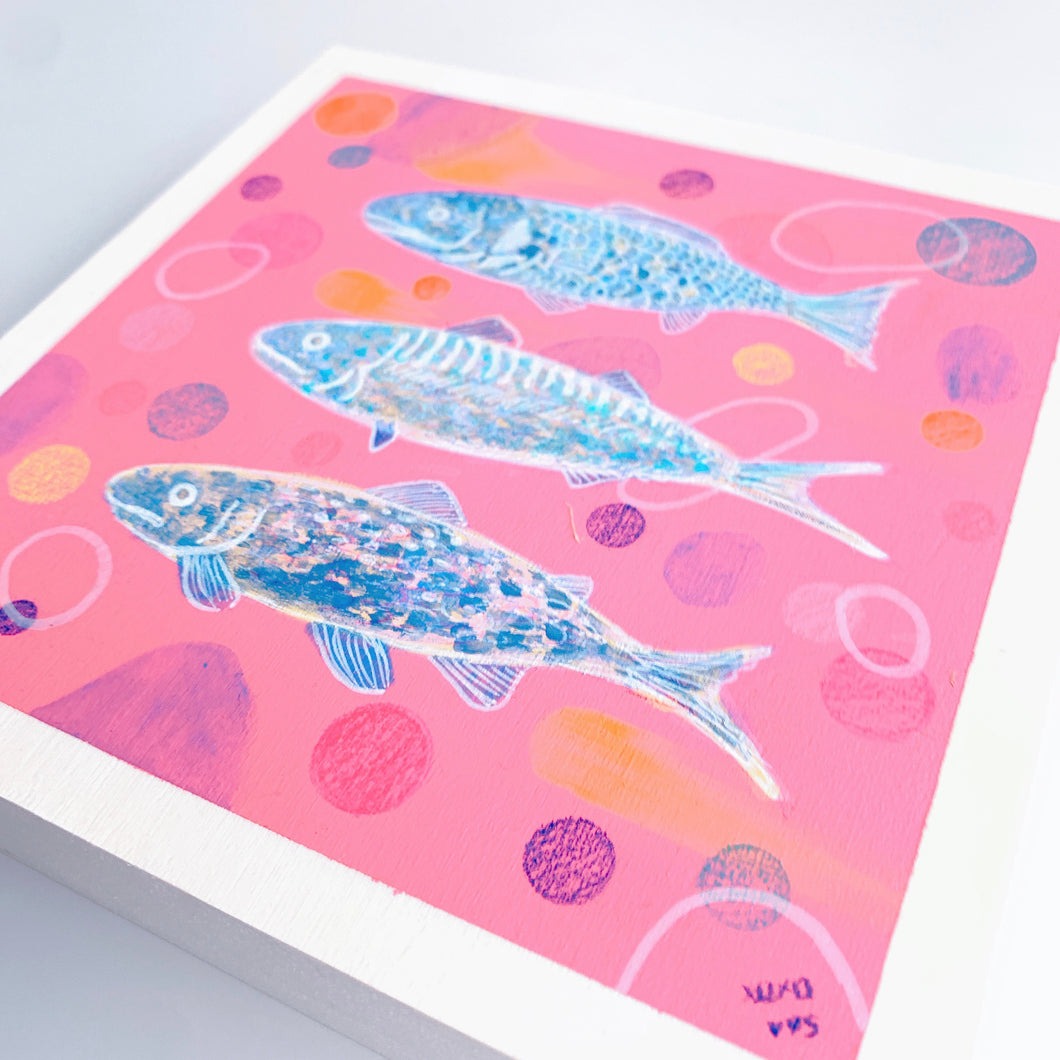 pink fish /  original painting /