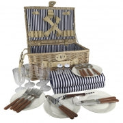 Deluxe Chest Picnic Basket Perfect for FOUR with Picnic Rug (Brown)