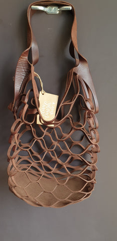 Leather Mesh Tote Chestnut