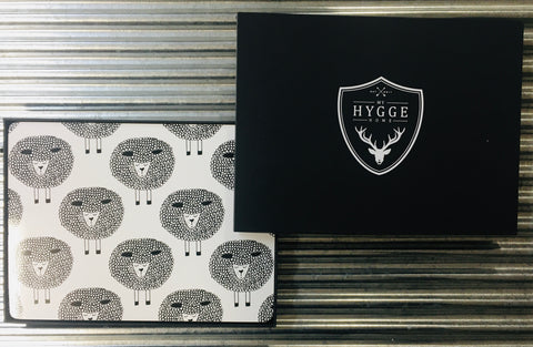 My Hygge Home Cork Backed Placemats Set of 4 Black Gift Boxed, Snoozy Sheep