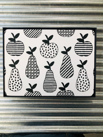 My Hygge Home Cork Backed Placemats Set of 4 Black Gift Boxed, Apples & Pears