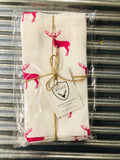 My Hygge Home 100% French Stone Washed Linen Napkins (4) Pink Sassy Deer