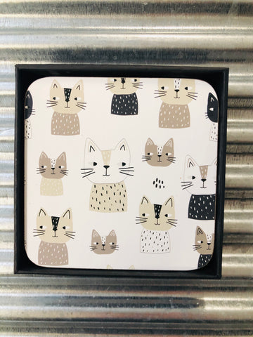 My Hygge Home Cork Backed Coasters Set of 4 Black Gift Boxed, Cats