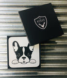My Hygge Home Cork Backed Coasters Set of 4 Black Gift Boxed, French Bulldog
