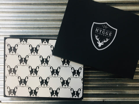 My Hygge Home Cork Backed Placemats Set of 4 Black Gift Boxed, French Bulldog