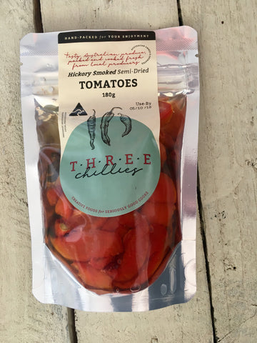 Three Chillies Hickory Smoked Semi Dried Tomatoes 180g