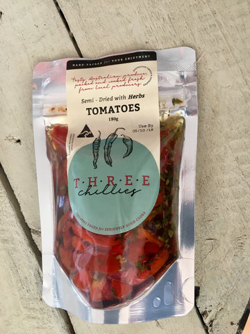 Three Chillies Oregano Herbed Semi Dried Tomatoes 180g