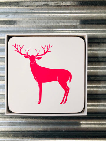 My Hygge Home Cork Backed Coasters Set of 4 White Gift Boxed, Sassy Deer