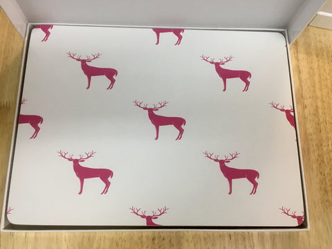 My Hygge Home Cork Backed Placemats Set of 4 White Gift Boxed, Sassy Deer