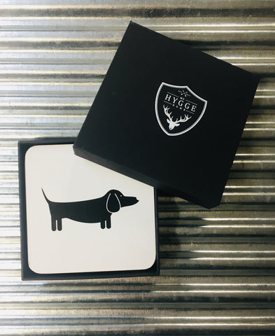 My Hygge Home Cork Backed Coasters Set of 4 Black Gift Boxed, Dapper Dachshund