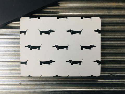 My Hygge Home Cork Backed Placemats Set of 4 Black Gift Boxed, Dapper Dachshund