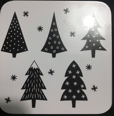 My Hygge Home Cork Backed Coasters Set of 4 Black Gift Boxed, Christmas Trees