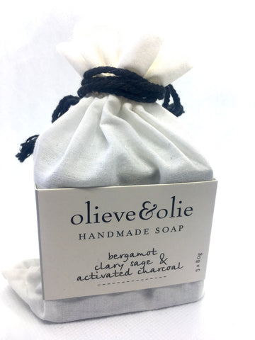 Soap Bergamot, Clary Sage & Activated Charcoal 240g (3 per pack)