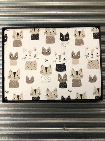 My Hygge Home Cork Backed Placemats Set of 4 Black Gift Boxed, Cats