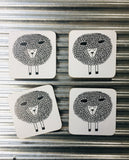 My Hygge Home Cork Backed Coasters Set of 4 Black Gift Boxed, Snoozy Sheep