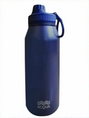 Sporty 1L Double Wall and Vacuum Insulated Stainless Steel Drinking Water Bottle - Deep Sea Blue