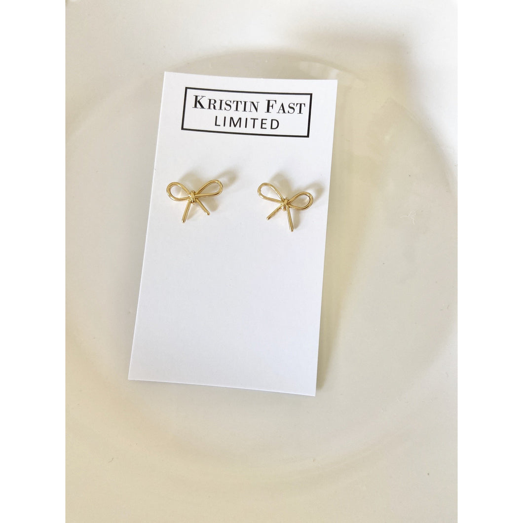Gold Bow Stud Earrings