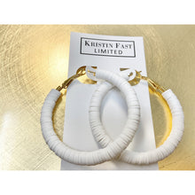 Load image into Gallery viewer, White Heishi Hoops