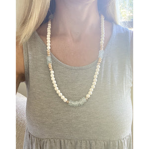 Clear Blue and White Lanyard/Necklace
