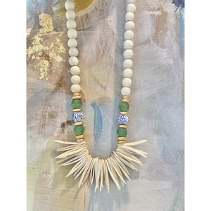 Chinoiserie and Green Ghana Bead Necklace