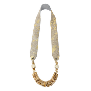 Gold Fleck Leather Strap Necklace