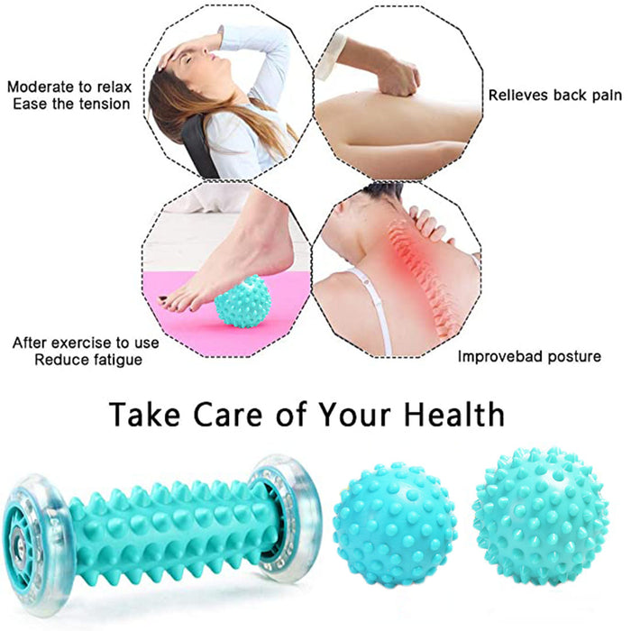 3Pcs Rubber Foot Massage Roller and Spiky Massage Ball Set