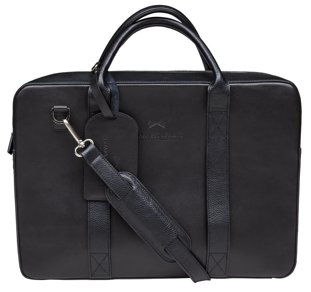 J.H&F Briefcase - Black Leather
