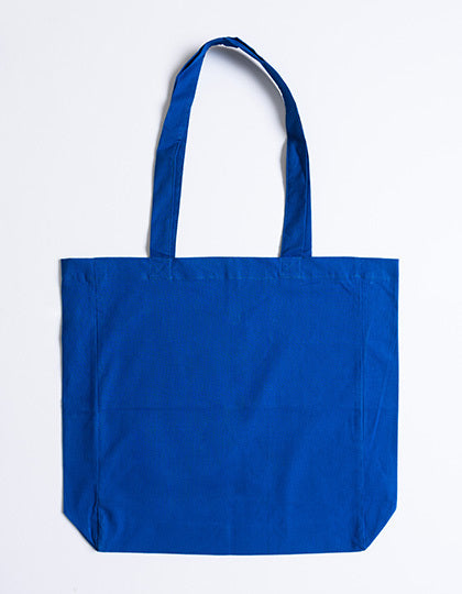Cotton bag with sidefold, long handles