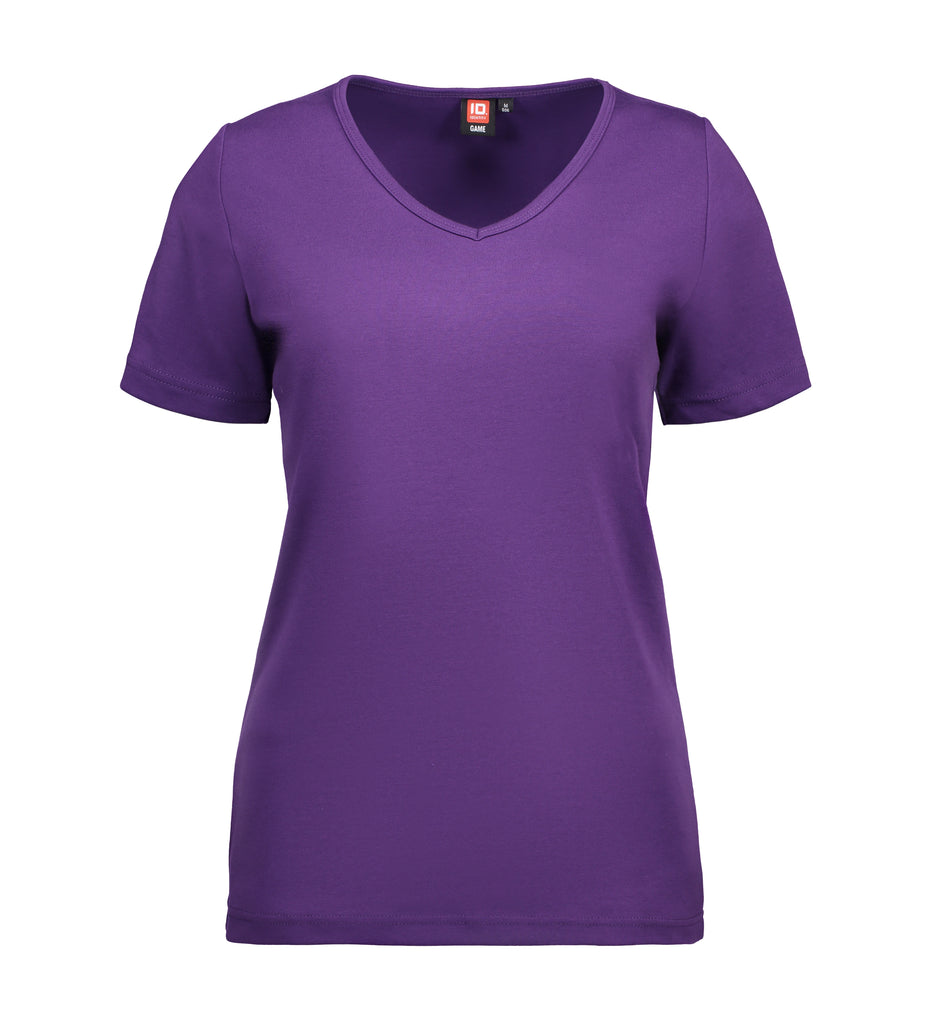 Interlock dame T-shirt| v-hals