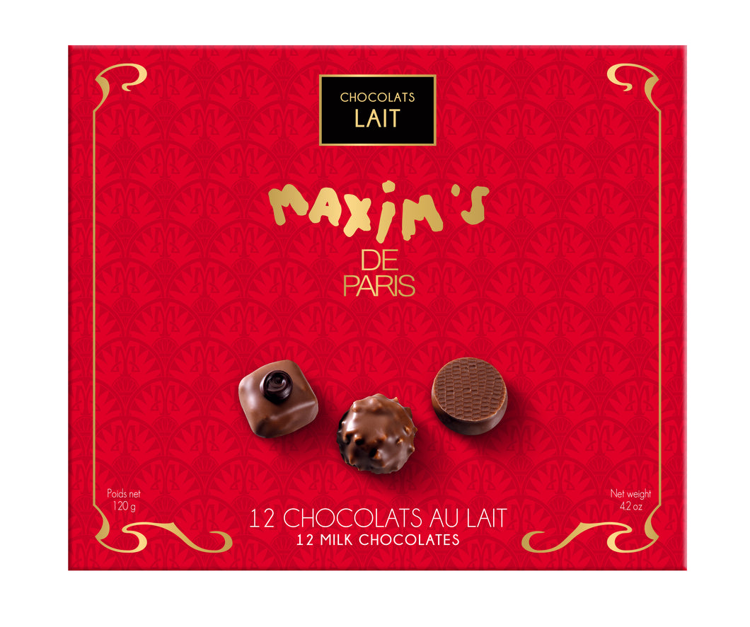 Maxim's de Paris Milk Chocolate Assorted (12 pc per box  of 120g)