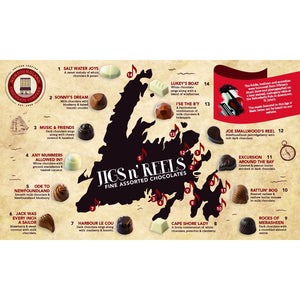 Newfoundland CC Jigs n Reels Series Assorted Chocolates (Dark, Milk, White)  (15 pc per box)