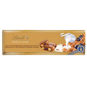 Lindt Swiss Classic Gold Milk, Raisin, Hazelnut Chocolate Bar 300g