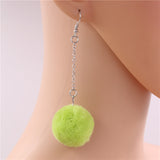 Pop Colour Pretty Pom Pom Drop Earrings – Green