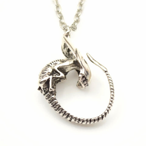 Awesome Alien Aliens Silver Pendant Necklace