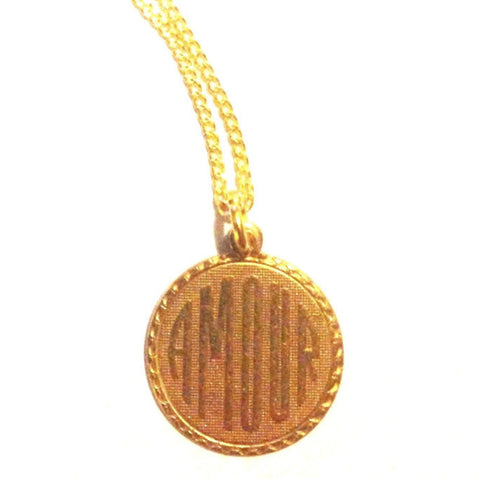 'AMOUR' Pretty Raw Brass Medal Pendant