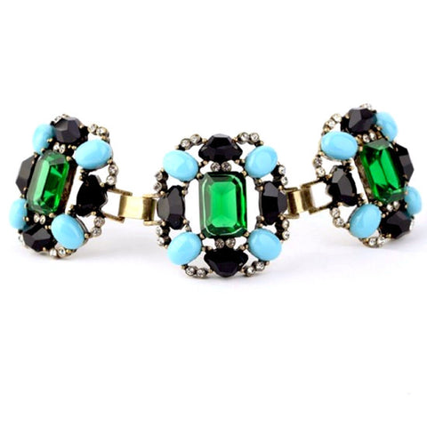 Green Blue Black Gemstone Statement Bracelet