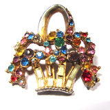 Vintage Colour Crystals Gem Set Gold Tone Basket Brooch