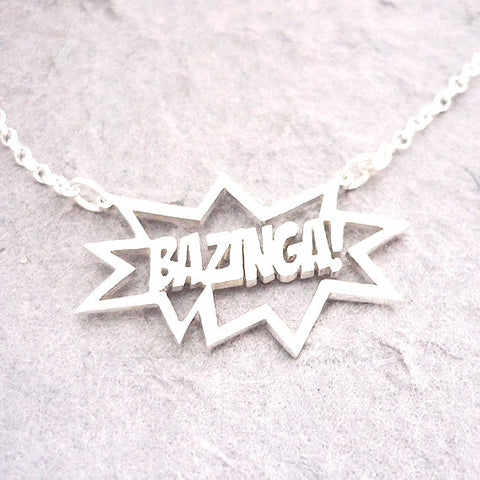 Big Bang Theory Bazinga! Motto Pendant Necklace