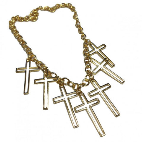 Golden Cut-out Multi Cross Statement Chain Necklace