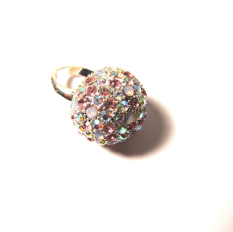 Stunning Pink White Iridescent Stones Bling Ring