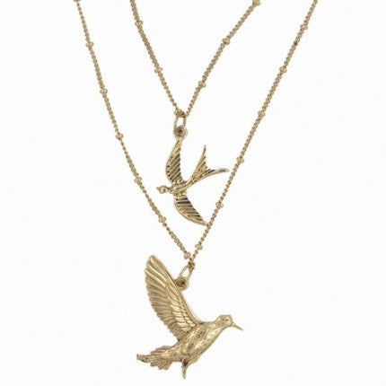 Double Strand Gold Birds Pendant