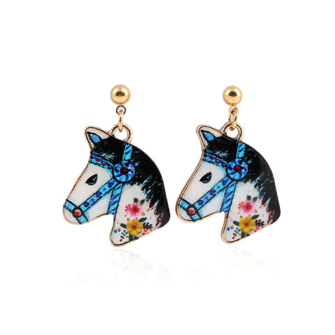 Colourful Kitsch Painted Fairground Horse Head Earrings – Blue