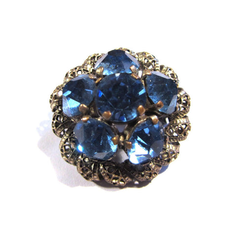 Vintage Silver and Blue Gemstone Brooch