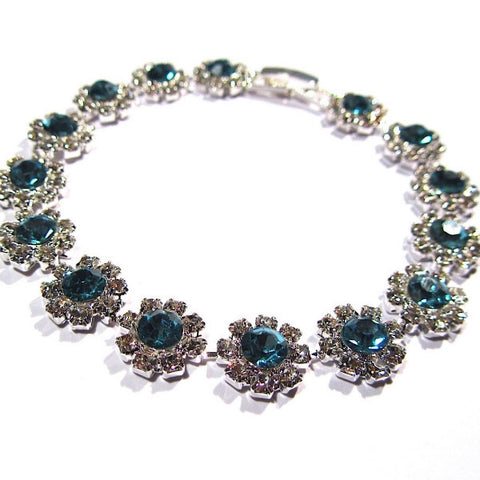 Dazzling Diamante Flower Design Bracelet