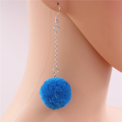 Pop Colour Pretty Pom Pom Drop Earrings – Blue