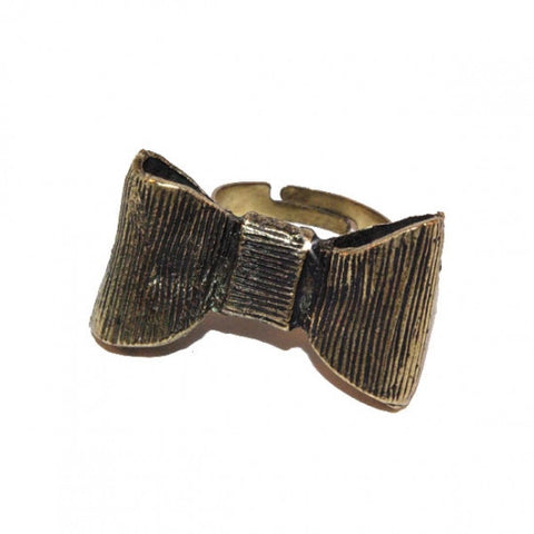 Antique Gold Vintage Style Adjustable Bow Ring